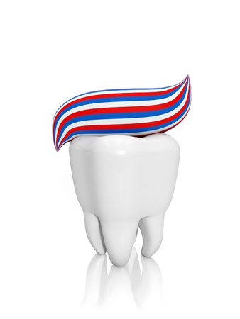 3d illustration: Human tooth and toothpaste. Clean and protect your teeth