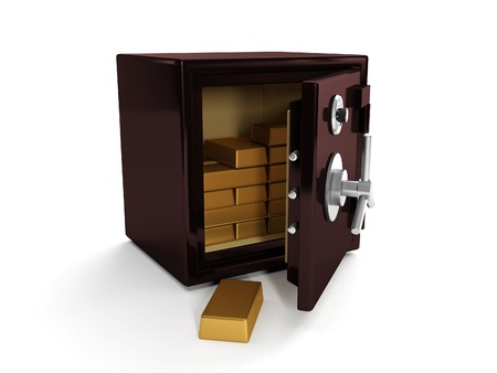 3d illustration: Safe and gold bullion. Storing and saving your money illustration