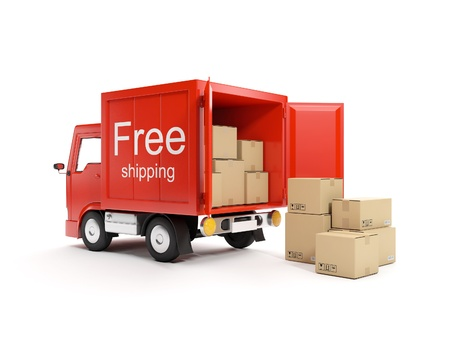 moving truck: 3d illustration: Loading and delivery of goods Stock Photo