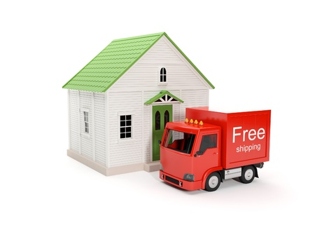 3d illustration: Free delivery to your home Stock Illustration - 14728276
