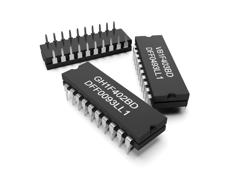 3d illustration: computer parts, integrated circuits, on a white background Banque d'images