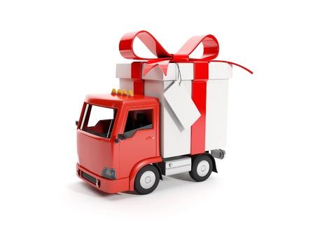 3d illustration: Truck delivering a gift Banque d'images