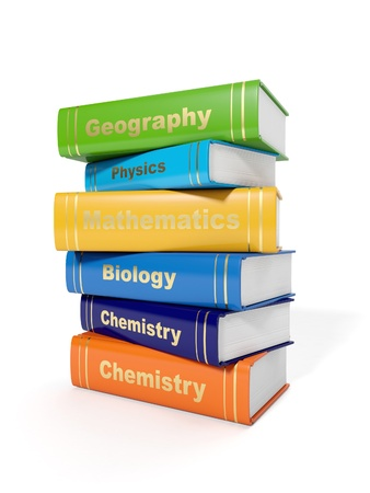 3d illustration: Secondary School Textbooks on a white background Banque d'images