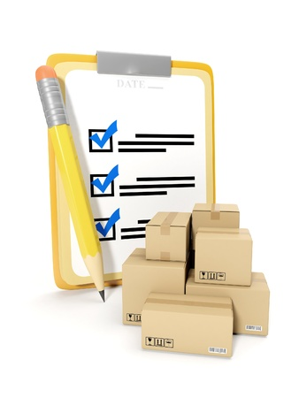 packaging move: 3d illustration: accounting of goods, storage of goods. Notepad and pencil on a white background