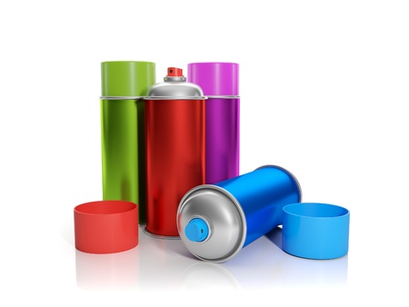 aerosol can: 3d illustration: A group of colorful aerosol are on the table