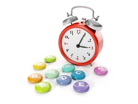 3d illustration: A big red alarm clock with a group of vitamins. Time of drug administration illustration