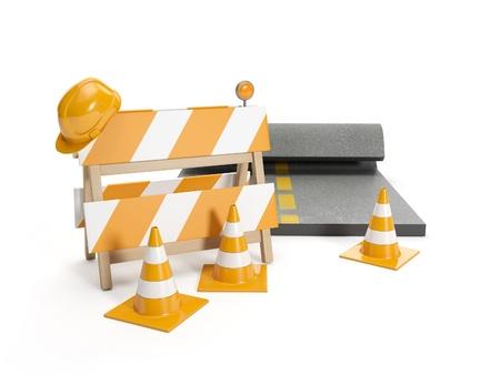 3d illustration: Repair roads, replacing the road. signs illustration