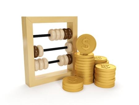 monete antiche: Illustrazione 3D: Contabilità. I conti e il gruppo di denaro su uno sfondo bianco Archivio Fotografico