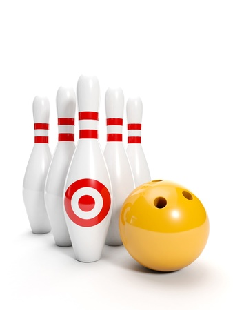 bowling ball: 3d illustration: Sport. Bowling ball and bowling on a white background