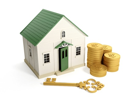 3d illustration: Buying a home, real estate loan. Toy house with a golden key and a group of gold coins Stock Illustration - 14728469