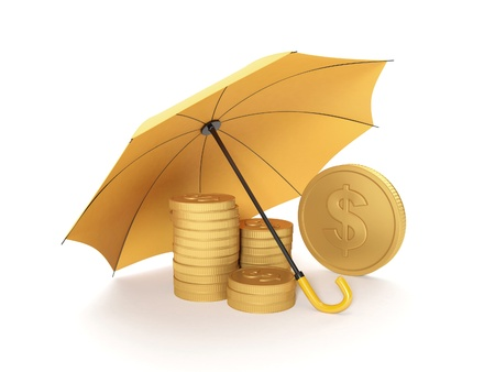 yellow umbrella: 3d illustration: Protecting funds, insurance.