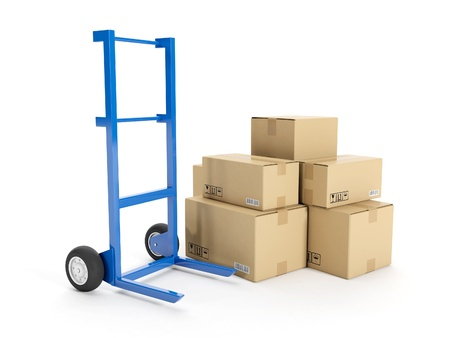 3d illustration  Delivery of possession of the goods  Trolley with a group of cardboard boxes on a white background illustration
