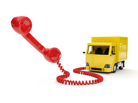 3d illustration  Order of freight traffic on the telephone illustration