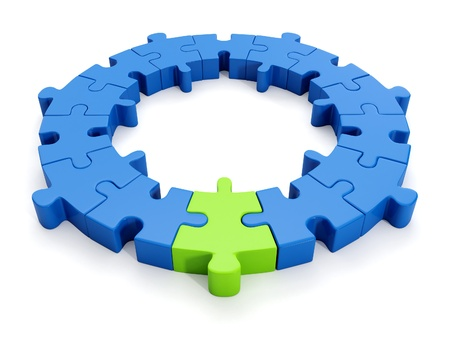 group strategy: 3d illustration  A group of puzzles, the designer Stock Photo