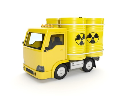 nuclear waste: 3d illustration  Delivery of Nuclear Waste Stock Photo
