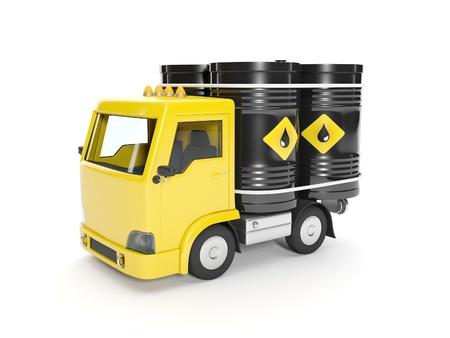 3d illustration  Delivery of oil  Truck and barrels of oil illustration