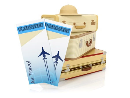 3ä illustration: Travel rest from work. Tickets aboard the plane and suitcases on a white background