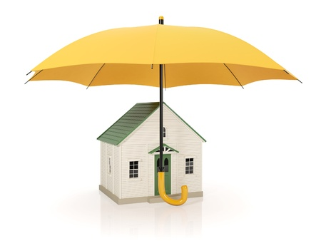 weather protection: 3d illustration: Protecting homes from poor conditions, an umbrella Stock Photo
