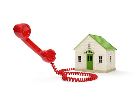 3d illustration: Toy House and the handset. to call home Banque d'images