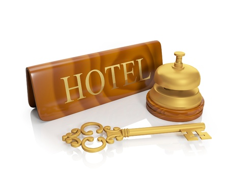 3� illustration: Hotel hotel inscription and call, delivery of numbers, housing illustration