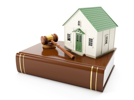 legal law: 3ä illustration: Protection of the rights of a private property. The house costs on books with the law, to pass the judgment Stock Photo