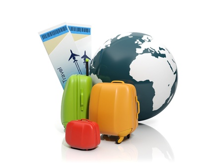 3d illustration  Land and a group of suitcases  To take a vacation rental illustration