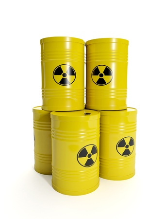 nuclear waste: 3d illustration  A group of barrels of nuclear waste Stock Photo
