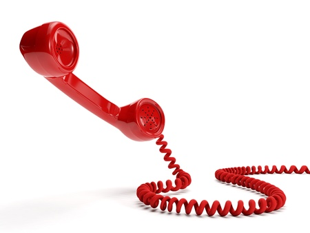 landline: 3� illustration  A big red receiver on a white background