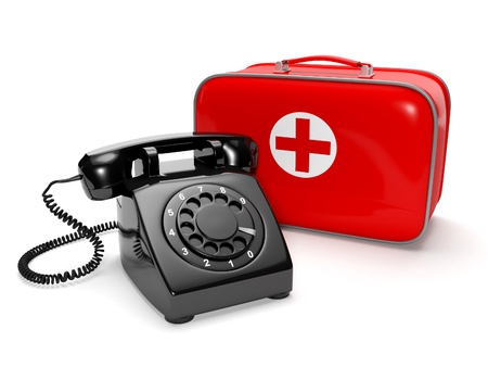 3� illustration  Call of the doctor, medical care  Phone with the first-aid kit on a white background illustration