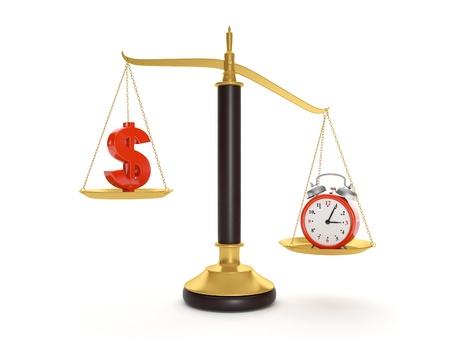 3d illustration: Balance time and money. Current value of the world illustration