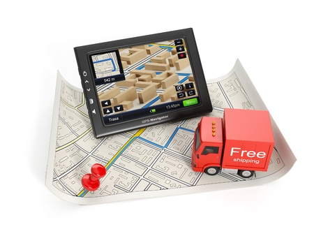 3d illustration: Trucking in the city. Map and GPS with a truck on a white background