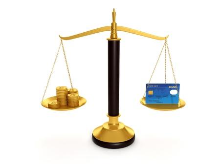 3d illustration: Balance credit cards and gold coins. Keeping money in the credit card illustration