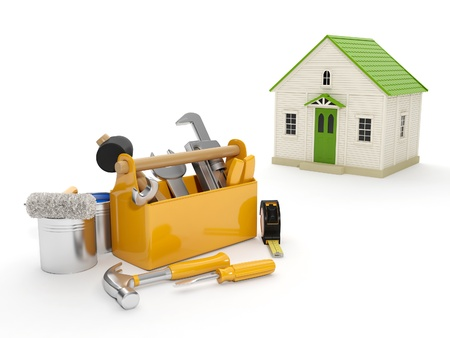 3d illustration: Repair and construction of the house. Tool box and a house in the background. The white background isolated Banque d'images