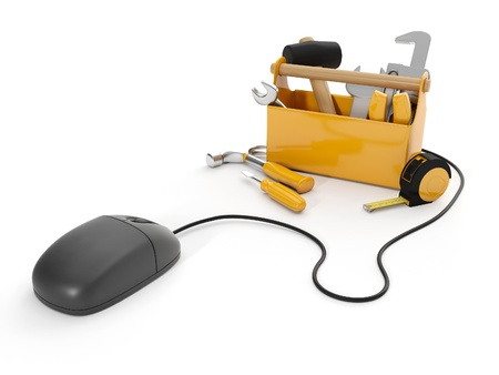 optical equipment: 3d illustration: Online tools, technical support. Mouse and a group of tools on white background, isolated
