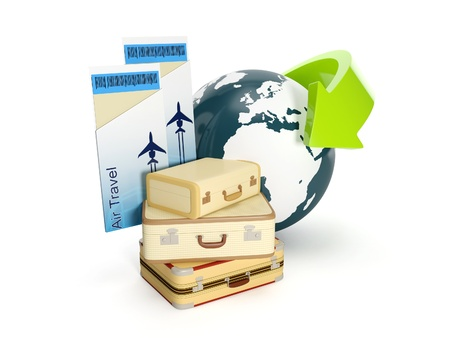 3d illustration: Travel holiday. The suitcase and the earth with a plane ticket on a white background illustration