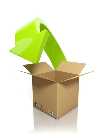 downloading content: 3d illustration: Downloading content. A cardboard box and an arrow on a white background