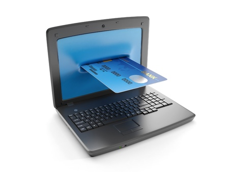 3d illustration: A laptop and a credit card, electronic money illustration