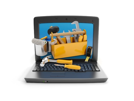 3d illustration: Laptop and a group of instruments. technical support illustration