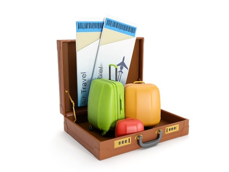leather briefcase: 3d illustration: travel agent trips