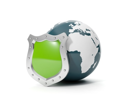 3d illustration: Earth and shield. Insurance protection of land