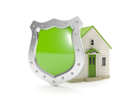 world security: 3d illustration: Home Shield, protecting your home, home insurance