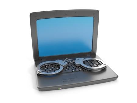 3d illustration internet crime. Laptop and handcuffs crime illustration