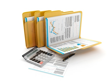 3d illustration: Business idea. The group folders with documents and a calculator. accounts Banque d'images