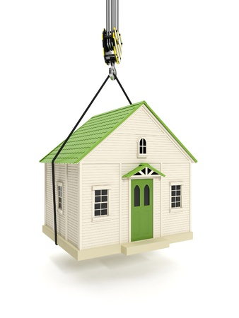 small house: 3d illustration: Drive home. The hook of a crane lifts the house. Change of residence