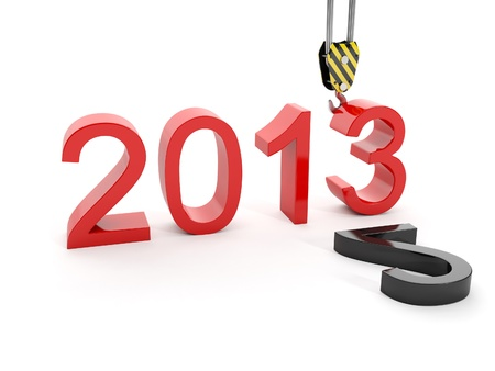 3d illustration of New Year 2013. Building a hook puts the figure three illustration