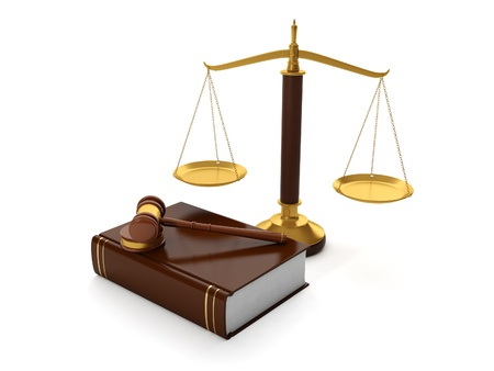 trial balance: 3d illustration: Legal aid. trial balance and the hammer of the law book of symbols