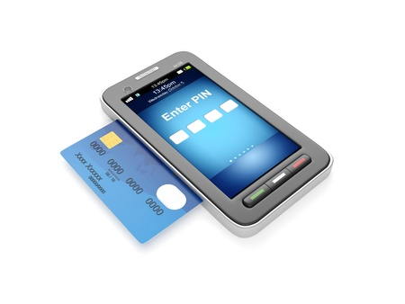 visual perception: 3d illustration: Credit card and mobile phone Stock Photo