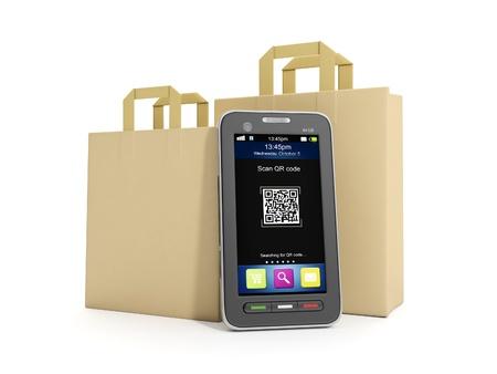 3d illustration: Purchase of goods via mobile Internet. illustration