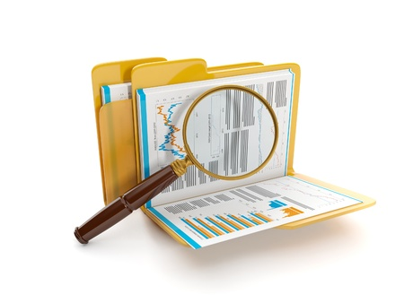 backups: 3d illustration: Finding a document file. Folder and a magnifying glass Stock Photo