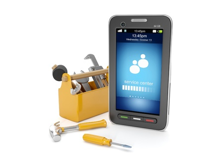 3d illustration: Call the service center. Mobile phone and a box of tools Banque d'images